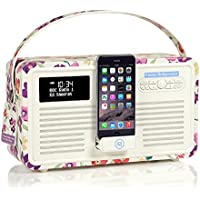 VQ Retro Mk II DAB/DAB+ Digital- und FM-Radio mit Bluetooth, Apple Lightning Dock und Weckfunktion - Emma Bridgewater Mauerblümchen