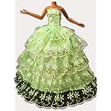WayIn® Banquete de boda de moda hecha a mano viste el vestido para la muñeca de Barbie verde con 5 capas atan