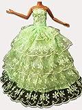 WayIn® Fashion Robe Handmade Fashion Party robes de mariée pour poupée Barbie vert avec 5 Layers Lace