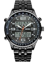 SunJas Durable Montre bracelet avec EL Écran Lumineux ,Multifonctions Bracelet Électronique, Étanche à L'eau Jusqu'à 30 M ,avec EL Lumière LED pour L'obscurité et de Sports Montres de mode noir