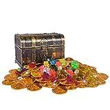 Trésor Chasse Boîte Enfants Treasure Box Electroplated Rétro En Plastique Grande Boîte Jouet Pièces D'or et Pirate Gems Bijoux Playset Pack Party Favor (CuivreA)...
