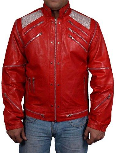 Michael Jackson rot Beat It Musik Video aus Kunstleder/PU Jacke alle Größen erhältlich = Get Custom Made Jacke = USA Return/Exchange Adresse Gr. S, (Michael Beat It Jackson Outfit)
