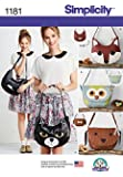 Simplicity 1181 Size OS Animal Bags Sewing Pattern, Multi-Colour