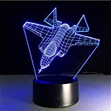 Avion 3D Night Light LED Remote Touch Avion Lampe de table Lampe de chasse 3D Lampe 7 Changement de couleur des piles USB Lampe intérieure ## 7