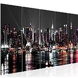 Bilder New York City Wandbild 200 x 80 cm Vlies - Leinwand Bild XXL Format Wandbilder Wohnzimmer Wohnung Deko Kunstdrucke Schwarz 5 Teilig - MADE IN GERMANY - Fertig zum Aufhängen 601955a