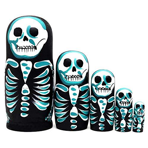 e Russische Verschachtelungs-Puppen-Matroschka-Schädel-Muster, Schönes Handgemachtes Stapelndes Puppenset, Geschenk Für Halloween Und Geburtstag ()