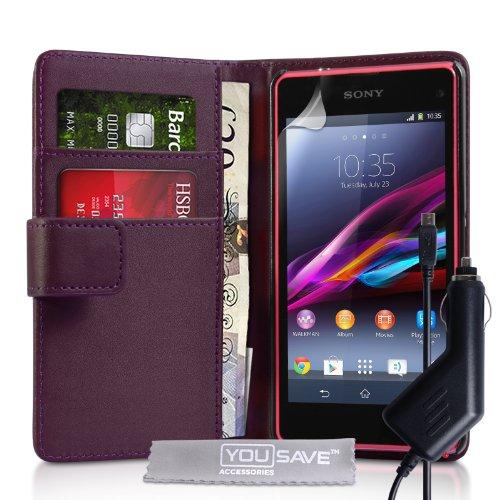 Yousave Accessories Schutzhülle aus PU-Leder, mit Kartenfächern, KFZ-Ladegerät für Sony Xperia Z1Compact, Violett