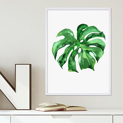 Design-Poster mit Bilderrahmen Weiss 'Monstera' 30x40 cm Motiv Natur Aquarell Blatt Pflanze