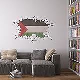 Cracked Wall Flag of Palestine Vinyl Wall Art Sticker/Wandaufkleber/Wandtattoo