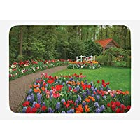VTXWL Garden Bath Mat, A Spring Garden with Forest Hut Small Bridge Plants Flowerbeds and Walkway, Plush Bathroom Decor Mat with Non Slip Backing, 23.6 W X 15.7 W Inches, Green and Purple