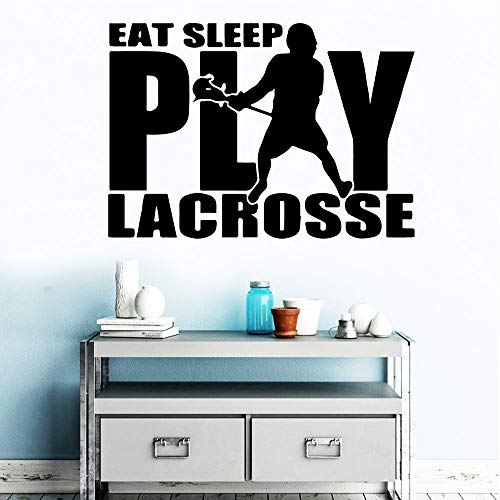 WWYJN Fun Lacrosse Decal Removable Vinyl Mural Poster for Living Room Kids Room Sticker Mural White M 30cm X 42cm