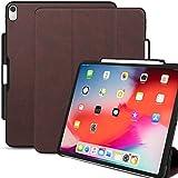 KHOMO Cover iPad PRO 11 (2018) Smart Cover Magnetico piú Protezione Posteriore Ultra Sottile e Leggera - Dual Portapenne - Pelle Marrone