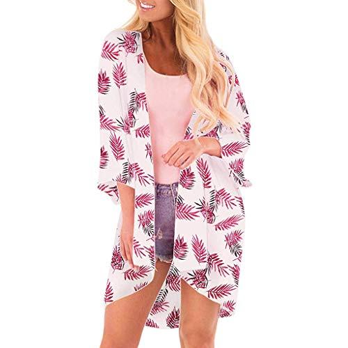 Euaoqi Women Fashion Chiffon Leaf Coat Tops Suit Bikini Swimwear Beach Swimsuit Smock 2019 New Under 10 Dollar (Pink)