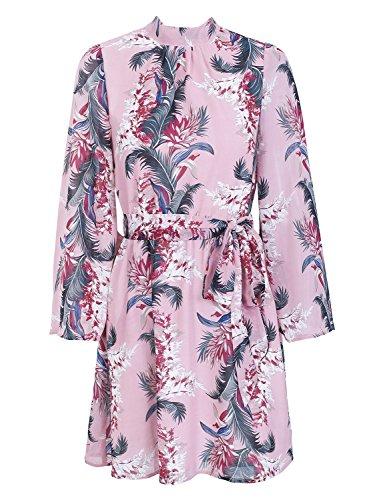 Simplee Apparel Femme Vintage élégant Robe Courte Mousseline Fleur Imprimé Robe Mini Lacé Manchon évasé de Plage Voyage été Printemps Rose