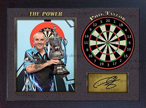 Phil Taylor The Power Autogramm, signiert Foto Print Darts gerahmt