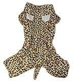 Zunea Dog Costume Imprimé léopard Manteau d'hiver à capuche Chien Pyjama Medium Chien Vêtements