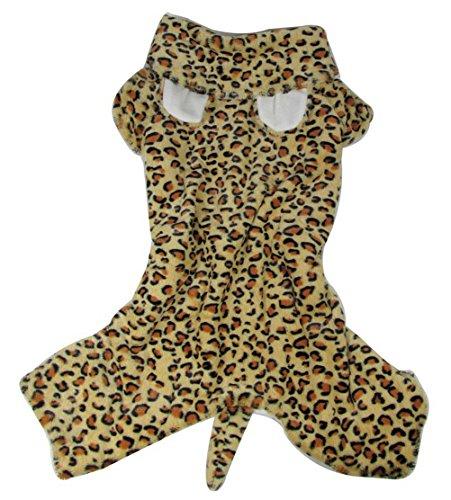 zunea Hund Winter Fell Leopard Print Hund Kostüm mit Kapuze Hund Schlafanzüge Medium Hund Kleidung -