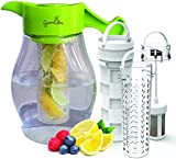 Fruit and Tea Infusion Pitcher - Free Infuser Recipe Ebook - Triple infusion water jug includes 3 interchangeable infusers for fruit, tea and ice to enhance the flavor of water & beverages