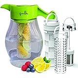 Karaffe mit Einsatz - Krug für Wasser, Limonade, Apfelschorle, Erfrischungsgetränke - Kanne mit 3 Einsätzen für Früchte, Tee und Eiswürfel um den Geschmack von Wasser & Getränken zu Verbessern