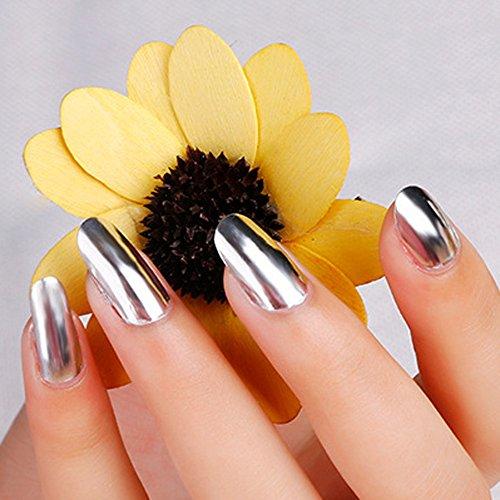 Spiegel silberner Nagellack G133 super heller Spiegel silberner Nagellack Silber + Spiegel am Ende des Öls helles Öl zwei (Multicolor)