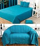 Homescapes waschbare Tagesdecke Sofaüberwurf XXL Überwurfdecke Rajput 225 x 255 cm in Ripp-Optik Bettüberwurf aus 100% reiner Baumwolle in petrol