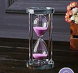 MINGZE Transparent Kristall Sanduhr Timer Sand Uhr Handwerk Glas Dekoration, 15 Minuten / 30 Minuten / 60 Minuten (Rosa, 30 Minuten)