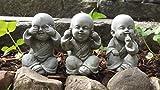 Buddha Dekoration/Statue/Skulptur für Garten oder Koi-Teich, Motiv Nichts Böses sehen, hören oder sagen, Kunststein, 1 Set (3 Buddhas)