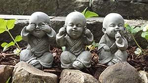 Bouddhas ne rien dire, ne rien voir, ne rien entendre–Lot de 3décorations de jardin en pierre reconstituée / Statue / Sculpture / Koï