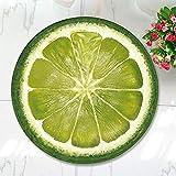 WANINE Alfombra De Franela De Fruta Redonda Alfombra De Dormitorio Silla De Computadora Yoga Naranja Amarillo Verde Color Almohadilla De Limón-Limón Verde Redondo_100Cm