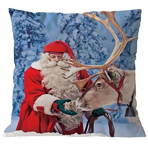 (TEBAISE Kissenbezuge Weihnachten Kissenhülle Dekokissen Throw Pillow Covers Bettwäsche Für Autos Sofakissen 1 er Set Weihnachten Baumwolle Leinen Home Taillen Kissenbezug Dekokissen Fall 45 x 45cm)