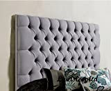 luxisleepltd Stylish Colchester Bed Headboard in Chenille Fabric with matching Buttons (5ft King Size, Black)