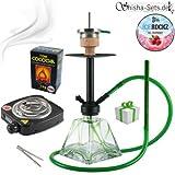 Shisha Set mit Shisha Amy Vega Klick II, Kohleanzünder, Naturkohle, Kaminkopf, Dampfsteine und eine kleine Überraschung (Grün / Schwarz-Matt)