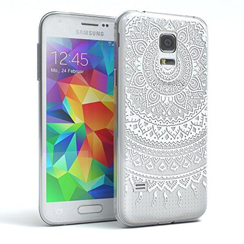 EAZY CASE Hülle für Samsung Galaxy S5 Mini Schutzhülle Silikon Mandala Design, Slimcover Henna, Handyhülle, TPU Hülle/Soft Case, Silikonhülle, Backcover, indische Sonne, transparent, Weiß (Smart-phone In Der Indischen Preis)
