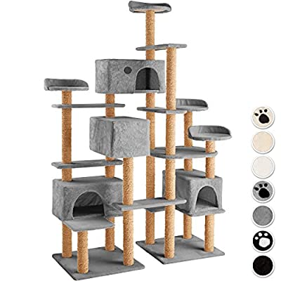 TecTake XXL cat tree with scratching post activity center 214cm | 4 platforms | 4 cosy cat caves - different colours