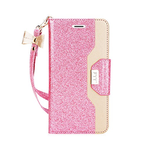 fyy iPhone SE Tasche, Premium PU Leder Wallet Tasche mit Kosmetikspiegel und Schleife Strap für Apple iPhone SE/5S/5, X-Bling-Pink+Gold