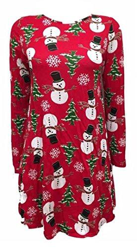 Fast Fashion Damen Kinder Für Weihnachten Weihnachten Neuheit Printed Ausgestelltes Schwingen Skater Kleid Santa Schneeflocke Schaukel Kleid