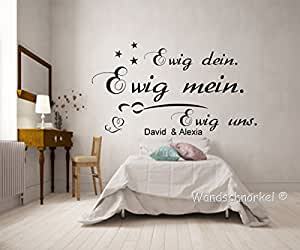 wandschn rkel wandtattoo schlafzimmer mit namen personalisiert schlafzimmer ewig dein ewig. Black Bedroom Furniture Sets. Home Design Ideas
