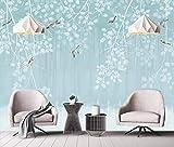 Fototapete 3D Effekt Tapete Von Hand Bemalt - Vogel Vliestapete 3D Wallpaper Moderne Wanddeko Wandbilder