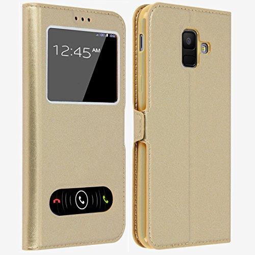 Gemtoo® Etui Coque Housse avec FENETRES pour Samsung Galaxy A6 (2018) - Plusieurs Couleurs Disponibles (Or)