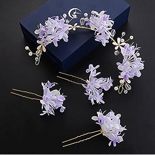 WYZ & Crown Blumenkopfschmuck Koreanische Braut Kopf Blume Sen weibliche Hand Blume Kopfschmuck Brautkleid Brautkleid Kleid Zubehör Blumenkranz Krone (Farbe : Lila)