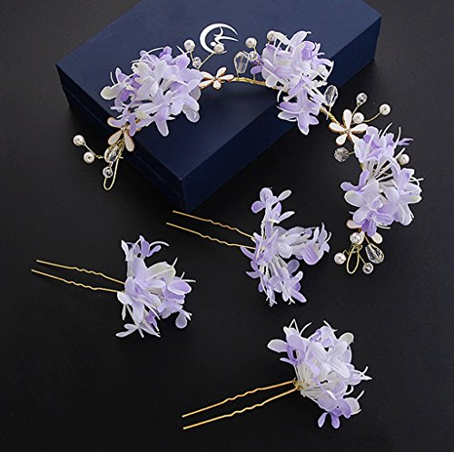 &Corolla Kopfschmuck Koreanische Braut Kopf Blume Sen weibliche Hand Blume Kopfschmuck Brautkleid Brautkleid Kleid Zubehör ( Farbe : Lila ) (Brautkleid Koreanisch)