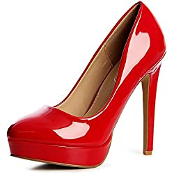 topschuhe24 1220 Damen Lack Plateau Pumps High Heels Stilettos Blogger Style, Farbe:Rot;Größe:37