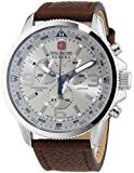 Swiss Military Arrow Men's Quartz Watch with Silver Dial Chronograph Display and Brown Leather Strap