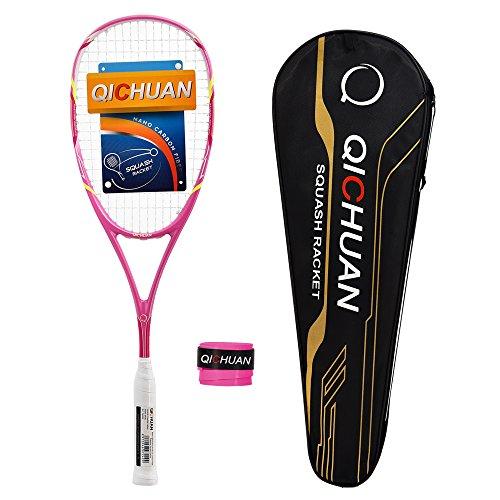 QICHUAN Squash Schläger Racket Set 100% Nano Graphit Carbon 125g mit Tasche & Griffband Erwachsene (Rosa)
