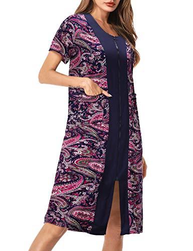 UUANG Camisón Mujer Verano Pijama Cremallera