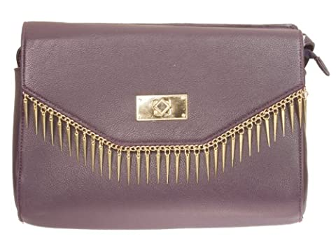 New Womens Girly Handbags Faux Leather Gold Spikes Shoulder Bag Elegant Fashion Casual (Dark