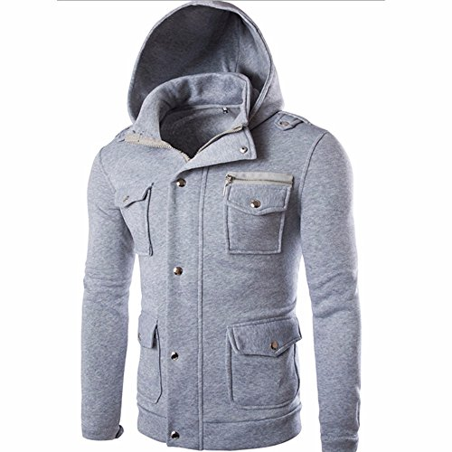 YanHoo Tops de Hombre Hombres Bolsillo Chaqueta de Abrigo sólido suéter Sudadera...
