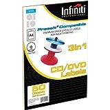 Infiniti - Carta fotografica lucida per etichette per CD, formato A4, colore: bianco, confezione da 50 pezzi