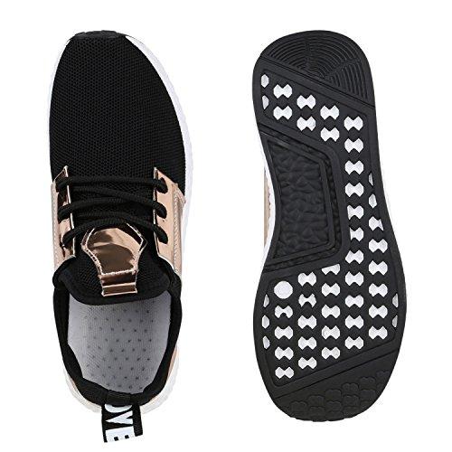 Damen Sportschuhe Runners Lack Metallic Laufschuhe Sneakers Schwarz Gold
