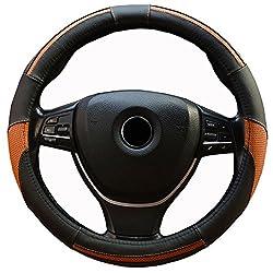 Semoss Universal Lenkradhülle Echt Leder Sports Lenkradbezug Lenkradabdeckung Lenkradschoner Auto Mit Stitch,dimension:37-38cm,farbe:schwarz Braun